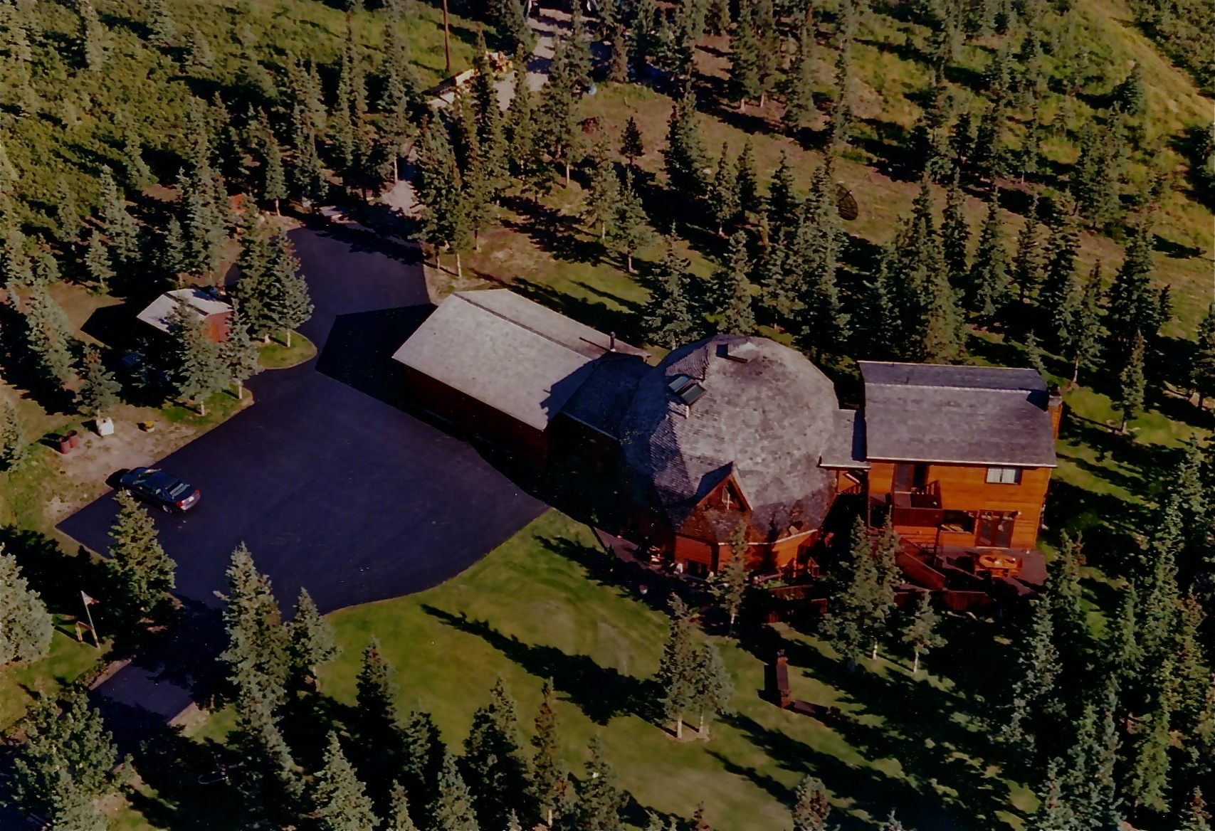 Aerial Denali Dome Home B&B